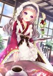 1girl :d bangs bow brown_bow ceiling chair coffee coffee_cup cup day disposable_cup hane_segawa highres holding holding_tray indoors long_hair long_sleeves looking_at_viewer open_mouth original parfait smile table tray violet_eyes wa_maid wide_sleeves window