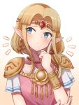 1girl bangs blonde_hair blue_eyes blue_hair blush breasts collarbone commentary_request earrings gem highres jewelry medium_breasts necklace pointy_ears princess_zelda short_hair short_sleeves solo the_legend_of_zelda tiara wanima_8888