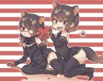2girls apron australian_devil_(kemono_friends) bare_shoulders black_apron black_hair black_legwear black_neckwear black_shirt black_skirt bow bowtie brown_eyes brown_gloves commentary_request detached_sleeves extra_ears eyebrows_visible_through_hair eyepatch fangs gloves highres kemono_friends kolshica medical_eyepatch multicolored_hair multiple_girls no_shoes open_mouth pleated_skirt shirt short_hair skirt spoken_x tasmanian_devil_(kemono_friends) tasmanian_devil_ears tasmanian_devil_tail thigh-highs white_hair zettai_ryouiki