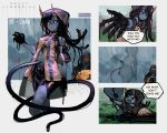 >_< 1girl 1other :t absurdres artist_name bike_shorts black_sclera blue_skin commentary copyright_name cropped_legs danielle_brindle death_stranding english_text furrowed_eyebrows highres hood hoodie horns jacket long_hair looking_at_viewer monster_girl o_o personification rain tentacle_hair umbilical_cord