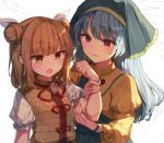 2girls :d apron aqua_apron armor armored_dress bangs blonde_hair blue_hair blush brown_eyes clenched_hand double_bun dress eyebrows_visible_through_hair frilled_sleeves frills hair_ribbon hand_up haniwa_(statue) haniyasushin_keiki head_scarf jewelry joutouguu_mayumi juliet_sleeves long_hair long_sleeves multiple_girls necklace open_mouth puffy_sleeves red_eyes ribbon shinoba shirt short_hair sidelocks smile touhou upper_body white_background white_ribbon white_shirt wide_sleeves work_in_progress yellow_dress