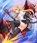 1girl admiral_hipper_(azur_lane) admiral_hipper_(muse)_(azur_lane) ahoge ass azur_lane bare_shoulders black_legwear black_skirt blonde_hair blush breasts brown_footwear electric_guitar fingerless_gloves floating_hair gloves green_eyes guitar highres holding holding_instrument idol instrument irohasu loafers long_hair looking_at_viewer miniskirt necktie open_mouth panties pleated_skirt rigging shirt shoes skindentation skirt sleeveless sleeveless_shirt thigh-highs two_side_up underwear white_panties white_shirt