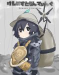backpack bag clouds cloudy_sky death_stranding helmet highres kaban_(kemono_friends) kemono_friends nuelogical pith_helmet serval_(kemono_friends) sky staring