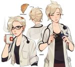 artist_name blonde_hair blue_eyes cleaning_glasses closed_eyes cloth coffee_mug collarbone croissant cup doctor eyebrows_visible_through_hair food glasses labcoat lavelis mercy_(overwatch) mug overwatch parted_lips raised_eyebrow shirt_under_coat simple_background sleeves_rolled_up steam stethoscope swiss_flag white_background