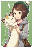 ! 1girl :o absurdres bag brown_eyes brown_hair cardigan cat closed_eyes female_protagonist_(pokemon_swsh) hat highres meowth nyasunyadoora open_mouth pokemon pokemon_(game) pokemon_swsh short_hair solo sweatdrop