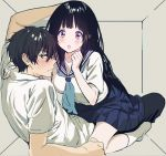 1boy 1girl arms_up bangs black_hair blush box breasts chitanda_eru closed_mouth couple ear_blush embarrassed eyebrows_visible_through_hair green_eyes hair_between_eyes hand_on_another's_shoulder hetero hyouka in_box in_container indoors kneehighs leaning_back long_hair looking_at_another looking_to_the_side mery_(apfl0515) open_mouth oreki_houtarou school_uniform serafuku shirt short_sleeves sitting sitting_on_person skirt sweat sweatdrop violet_eyes white_legwear white_shirt