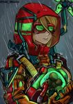 1girl artist_name blonde_hair blue_eyes crossover death_stranding goggles highres long_hair metroid metroid_(creature) ponytail rain samus_aran serious signature sketch solo stoic_miiverse