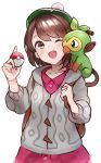 1girl ;d absurdres bag brown_eyes brown_hair female_protagonist_(pokemon_swsh) grookey highres one_eye_closed open_mouth pokemon pokemon_(game) pokemon_swsh short_hair smile solo ta938_ka23