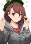 >:) 1girl absurdres blush brown_eyes brown_hair closed_mouth collarbone commentary_request female_protagonist_(pokemon_swsh) green_headwear grey_coat hands_up heart highres holding holding_poke_ball hooded_coat kanzaki_kureha long_sleeves petals poke_ball poke_ball_(generic) pokemon pokemon_(game) pokemon_swsh serious short_hair simple_background smile solo tam_o'_shanter upper_body white_background
