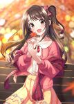 1girl :d autumn autumn_leaves bangs bench blurry blurry_background blush bow brown_eyes brown_hair collared_shirt commentary_request depth_of_field dress_shirt eyebrows_visible_through_hair floral_print hair_bow hands_together hands_up highres holding holding_leaf idolmaster idolmaster_cinderella_girls idolmaster_cinderella_girls_starlight_stage jacket leaf long_hair looking_at_viewer maple_leaf on_bench open_clothes open_jacket open_mouth own_hands_together park_bench pink_jacket plaid plaid_bow pleated_skirt print_skirt red_bow shawl shimamura_uzuki shirt sitting sitting_on_bench skirt smile solo sutoroa white_shirt yellow_skirt