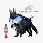 1boy alternate_costume animal black_footwear black_gloves boots bow bowtie cane cape commentary_request crown fate/grand_order fate_(series) full_body fur-trimmed_cape fur_trim gloves grey_background headless hessian_(fate/grand_order) lobo_(fate/grand_order) nutcracker oversized_animal standing tori/hiko translation_request twitter_username wolf
