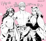 3boys abs bare_chest black_hair chest crossed_arms eraasan good_breasts_day jacket japanese_clothes kimetsu_no_yaiba kimono long_hair looking_at_viewer male_focus multicolored_hair multiple_boys muscle nipples open_clothes open_jacket open_shirt pectorals pink_background rengoku_kyoujurou shirt shirtless simple_background smile tomioka_giyuu uzui_tengen