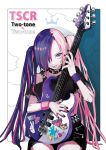 1girl collar guitar hair_ornament hair_over_one_eye highres instrument multicolored multicolored_eyes multicolored_hair original puppeteer7777 tongue twintails two-tone_hair