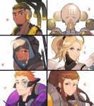 2boys 4girls ana_(overwatch) armor beard blonde_hair blue_eyes bodysuit brigitte_(overwatch) brown_eyes brown_hair close-up closed_mouth commentary_request dark_skin dark_skinned_male eyepatch facial_hair facial_mark facial_tattoo freckles hair_ornament hairlocs headphones heterochromia high_ponytail highres hood hood_up humanoid_robot long_hair looking_at_viewer lucio_(overwatch) maro_(lij512) mask mechanical_wings mercy_(overwatch) moira_(overwatch) monk multiple_boys multiple_girls old old_woman omnic orange_hair orb overwatch parted_lips petals ponytail red_eyes robot short_hair sidelocks simple_background smile tattoo teeth upper_body white_background white_hair wings zenyatta_(overwatch)