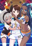 3girls alternate_costume armlet blue_eyes blue_hair blush brown_eyes brown_hair cerasus commentary_request dark_skin earrings female_protagonist_(pokemon_swsh) grey_hair gym_leader gym_uniform hair_ornament half-closed_eyes hand_on_another's_cheek hand_on_another's_face hand_on_another's_waist harem highres hoop_earrings hug jewelry long_hair looking_at_viewer midriff multiple_girls navel necklace pale_skin pikachu pokemon pokemon_(game) pokemon_swsh rurina_(pokemon) saitou_(pokemon) short_hair short_shorts shorts smile sportswear standing sweatdrop