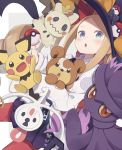 1girl abigail_williams_(fate/grand_order) bangs black_bow black_headwear black_skirt blonde_hair blue_eyes blush bow drill_hair fate/grand_order fate_(series) forehead hair_bow hat highres klefki long_hair long_sleeves looking_at_viewer mimikyu mismagius open_mouth orange_bow pantyhose parted_bangs pichu poke_ball pokemon pokemon_(game) pokemon_dppt pokemon_gsc pokemon_sm pokemon_xy polka_dot polka_dot_bow red_bow red_legwear shirt skirt teddiursa totatokeke twin_drills white_shirt witch_hat