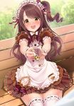 1girl :d alternate_costume apron badge bangs bench blurry blurry_background blush bow bowtie brown_eyes brown_hair brown_skirt buttons character_name commentary_request cookie cowboy_shot curry dress enmaided falling_petals feeding field food frilled_dress frilled_sleeves frills gradient grass hair_ornament hair_ribbon highres holding holding_spoon idolmaster idolmaster_cinderella_girls kazu layered_skirt lens_flare long_hair looking_at_viewer maid maid_apron maid_headdress nose_blush open_mouth outstretched_arms petals puffy_short_sleeves puffy_sleeves ribbon ribbon-trimmed_legwear ribbon_trim round_teeth shimamura_uzuki short_sleeves side_ponytail sidelocks sitting skirt smile solo spoon striped swept_bangs tareme teeth thigh-highs thighs upper_teeth wavy_hair white_apron white_bow white_legwear white_neckwear wrist_cuffs