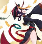 1girl braid china_dress chinese_clothes dress eyebrows_visible_through_hair fang fangs fate/grand_order fate_(series) hat heroic_spirit_festival_outfit highres horns jiangshi long_sleeves oni open_mouth pink_lips pointy_ears purple_hair short_eyebrows shuten_douji_(fate/grand_order) smile solo standing talisman tongue violet_eyes yuu_(higashi_no_penguin)