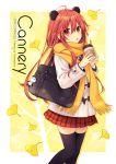 1girl animal_ears autumn bag long_hair looking_at_viewer neptune_(series) panda panda_ears red_eyes redhead scarf school_uniform shakeko_(neptune_series) signature thigh-highs tsunako