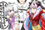 1boy 2girls bangs bare_shoulders belt belt_buckle black_belt black_gloves black_pants blue_hair bodysuit bridal_gauntlets brown_eyes buckle chaldea_uniform cloak collared_jacket commentary_request dress elbow_gloves facial_mark fate/grand_order fate_(series) forehead_mark fujimaru_ritsuka_(male) gloves hair_ornament hand_on_another's_head highres horns ishtar_(fate/grand_order) jacket kama_(fate/grand_order) long_hair multicolored_hair multiple_girls neon-tetora open_mouth pants parted_bangs parted_lips pink_hair purple_dress red_bodysuit red_cloak simple_background sleeveless sleeveless_dress space_ishtar_(fate) star star-shaped_pupils symbol-shaped_pupils translation_request two-tone_hair two_side_up uniform very_long_hair white_background white_jacket