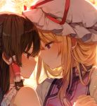 2girls backlighting bangs bare_shoulders blonde_hair brown_hair closed_mouth commentary_request earrings eyebrows_visible_through_hair fingernails hair_tubes hakurei_reimu hat hat_ribbon holding_hands interlocked_fingers jewelry long_hair looking_at_another mob_cap multiple_girls profile red_eyes red_ribbon ribbon shinoba smile stud_earrings tabard tears touhou violet_eyes white_headwear yakumo_yukari yuri
