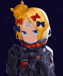 1girl abigail_williams_(fate/grand_order) absurdres bandaid_on_forehead bangs black_bow black_jacket blonde_hair blue_eyes blush bow breasts crossed_bandaids fate/grand_order fate_(series) forehead hair_bow hair_bun heroic_spirit_traveling_outfit high_collar highres jacket long_hair long_sleeves looking_at_viewer multiple_bows orange_belt orange_bow parted_bangs polka_dot polka_dot_bow sinobi_illust sleeves_past_fingers sleeves_past_wrists solo