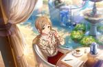 aikawa_chinatsu blush brown_eyes brown_hair dress idolmaster_cinderella_girls_starlight_stage short_hair smile