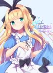 1girl apron bangs baram black_bow black_hairband black_ribbon blonde_hair blue_background blue_dress blunt_bangs bow closed_mouth commentary_request dated dress eyebrows_visible_through_hair frilled_apron frills green_eyes hair_ribbon hairband hand_on_own_chest hands_up happy_birthday heart highres long_hair mononobe_alice nijisanji puffy_short_sleeves puffy_sleeves ribbon short_sleeves simple_background skirt_hold smile solo very_long_hair virtual_youtuber white_apron