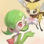 1girl antennae black_eyes blush commentary_request flower flying gardevoir gen_3_pokemon gen_7_pokemon gradient gradient_background green_hair hand_up looking_to_the_side no_humans pink_flower pokemon pokemon_(creature) pokemon_(game) polyacryla red_eyes ribombee short_hair simple_background smile wings yellow_background