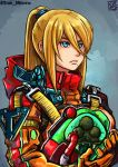 1girl artist_name blonde_hair blue_eyes crossover death_stranding highres long_hair metroid metroid_(creature) ponytail samus_aran serious signature sketch solo stoic_miiverse