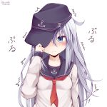 1girl absurdres anchor_symbol blue_eyes blush breasts eyebrows_visible_through_hair hair_between_eyes hamayuu_(litore) hat hibiki_(kantai_collection) highres kantai_collection long_hair long_sleeves looking_at_viewer neckerchief red_neckwear school_uniform silver_hair small_breasts smile solo