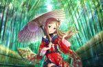 blush brown_hair green_eyes idolmaster_cinderella_girls_starlight_stage long_hair matsuyama_kumiko parasol smile yukata