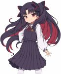 >:) 1girl bangs black_dress black_hair blush closed_mouth collared_shirt commentary_request dress eyebrows_visible_through_hair fate/grand_order fate_(series) gamuo hair_ornament ishtar_(fate/grand_order) long_hair long_sleeves multicolored_hair neck_ribbon pantyhose parted_bangs pinafore_dress pleated_dress puffy_long_sleeves puffy_sleeves red_eyes red_ribbon redhead ribbon shirt simple_background sleeveless sleeveless_dress sleeves_past_wrists smile solo space_ishtar_(fate) two-tone_hair two_side_up v-shaped_eyebrows very_long_hair white_background white_legwear white_shirt
