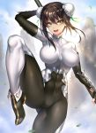 1girl abs arm_up backlighting bangs black_hair blue_sky bodysuit breasts bun_cover chinese_clothes covered_navel day double_bun fate/grand_order fate_(series) fingerless_gloves gloves green_eyes green_ribbon hair_between_eyes hair_ribbon highres holding holding_weapon leg_up looking_at_viewer medium_breasts nasaniliu open_mouth outdoors polearm qin_liangyu_(fate) revision ribbon sky smile solo standing standing_on_one_leg thighs weapon