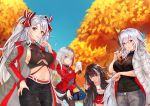 4girls :d absurdres admiral_graf_spee_(azur_lane) ahoge alternate_costume autumn azur_lane bag bag_charm bangs between_breasts black_jacket black_pants blue_eyes blue_sky blunt_bangs bow breasts bubble_tea casual charm_(object) claw_pose closed_mouth coat cowboy_shot crop_top cup day deutschland_(azur_lane) disposable_cup eyebrows_visible_through_hair finger_to_mouth graf_zeppelin_(azur_lane) grey_coat grey_pants grey_shirt hair_bow hand_on_hip highres holding holding_cup iron_cross jacket ko_ma0998 large_breasts leaning_forward long_hair long_sleeves looking_at_viewer miniskirt mole mole_on_breast multicolored_hair multiple_girls open_clothes open_coat open_jacket open_mouth orange_eyes outdoors pants parted_lips prinz_eugen_(azur_lane) red_bow red_jacket red_skirt redhead shirt short_hair silver_hair skirt sky smile streaked_hair tree two_side_up under_boob underboob_cutout very_long_hair white_coat white_hair white_shirt