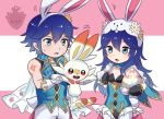 1boy 1girl alternate_costume ameno_(a_meno0) animal_ears animal_hood arm_tattoo blue_hair buck_teeth bunny_hood bunnysuit cape chrom_(fire_emblem) company_connection crossover father_and_daughter fire_emblem fire_emblem_awakening fire_emblem_heroes frilled_leotard frills gen_8_pokemon gloves holding hood krom leotard long_hair lucina lucina_(fire_emblem) nintendo pokemon pokemon_(creature) pokemon_(game) pokemon_swsh rabbit_ears round_teeth scorbunny short_hair sweatdrop tattoo teeth white_gloves white_legwear