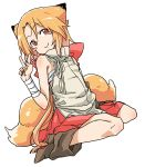 1girl animal_ear_fluff animal_ears bandaged_arm bandages bangs bare_shoulders blush_stickers boots bow brown_footwear chiwa_(fcwv5738) closed_mouth commentary_request copyright_request dutch_angle eyebrows_visible_through_hair fox_ears fox_girl fox_tail grey_shirt hair_between_eyes hand_up highres orange_hair pleated_skirt red_bow red_eyes red_skirt shirt sitting skirt sleeveless sleeveless_shirt smile solo tail v wariza