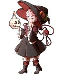 1girl boots candle eyeball food_themed_hair_ornament frilled_shirt_collar frills hair_ornament halloween halloween_costume hand_on_own_chin hat heart holding komeiji_satori long_sleeves mefomefo pink_eyes pink_hair puffy_pants pumpkin_hair_ornament shoes short_hair simple_background skull solo thinking third_eye touhou wide_sleeves witch_costume witch_hat