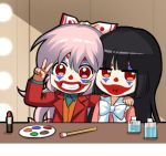 2girls :i bangs black_hair blazer blunt_bangs bow bowtie chibi chinese_commentary clown commentary_request facepaint fujiwara_no_mokou grin hair_between_eyes hair_bow hand_on_another's_shoulder hand_up houraisan_kaguya indoors jacket lipstick_tube long_hair long_sleeves looking_at_viewer lowres multiple_girls open_clothes open_jacket orange_vest paintbrush palette pink_hair pink_shirt red_eyes red_jacket shangguan_feiying shirt smile touhou upper_body v white_bow white_neckwear
