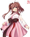 1girl alternate_costume artist_logo black_ribbon blush breasts brown_hair cosplay covered_nipples cowboy_shot dated feet_out_of_frame green_eyes hair_between_eyes hair_ornament hanbok hanbok_lift highres kanon_(kurogane_knights) kantai_collection korean_clothes large_breasts long_hair long_sleeves looking_at_viewer namesake open_mouth pink_skirt ribbon saratoga_(azur_lane) saratoga_(hibiscus-scented_idol)_(azur_lane) saratoga_(kantai_collection) sash side_ponytail signature simple_background skirt solo traditional_clothes white_background