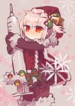 1girl bell black_gloves bow fate/grand_order fate_(series) florence_nightingale_(fate/grand_order) fur_trim gloves hat negi_(ulog'be) pantyhose pink_hair red_eyes santa_hat syringe