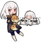 1girl artist_name closed_eyes closed_mouth do_m_kaeru eevee fire_emblem fire_emblem:_three_houses garreg_mach_monastery_uniform gen_1_pokemon gen_8_pokemon holding holding_pokemon long_hair long_sleeves lysithea_von_ordelia open_mouth pink_eyes pokemon pokemon_(creature) seiyuu_connection simple_background uniform white_background white_hair wooloo yuuki_aoi