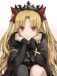 1girl asymmetrical_legwear blonde_hair buttons cape dress earrings elbows_on_knees ereshkigal_(fate/grand_order) eyebrows_visible_through_hair fate/grand_order fate_(series) gold gold_trim hair_ribbon hands_on_own_cheeks hands_on_own_face highres jewelry long_sleeves looking_at_viewer noraillust red_eyes ribbon sitting skull smile twintails
