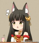 1girl animal_ear_fluff animal_ears azur_lane bangs bare_shoulders black_hair blush brown_eyes chestnut_mouth collarbone commentary_request cup detached_sleeves dress eyebrows_visible_through_hair fox_ears hair_ornament long_hair miicha nagato_(azur_lane) open_mouth pleated_dress red_dress solo strapless strapless_dress twitter_username upper_body v-shaped_eyebrows white_sleeves yunomi