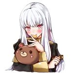 1girl absurdres cookie eating epaulettes fire_emblem fire_emblem:_three_houses food garreg_mach_monastery_uniform highres long_hair long_sleeves lysithea_von_ordelia oroshipon_zu pink_eyes simple_background solo stuffed_animal stuffed_toy teddy_bear uniform upper_body white_background white_hair