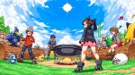2boys 2girls ^_^ black_footwear black_hair black_jacket blue_jacket blue_sky boots brown_hair campfire character_request closed_eyes clouds commentary crying day female_protagonist_(pokemon_swsh) fire grass grey_jacket hop_(pokemon) jacket legs_apart log looking_at_another male_protagonist_(pokemon_swsh) mary_(pokemon) migel_futoshi multiple_boys multiple_girls music musical_note nature outdoors pixel_art pokemon pokemon_(creature) pokemon_(game) pokemon_swsh pot red_jacket short_hair singing sitting sky sobble standing sun tam_o'_shanter tent tree twintails wooloo