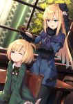 2girls absurdres bangs beret black_headwear black_legwear blonde_hair blue_coat blue_eyes blue_jacket breasts brown_gloves closed_mouth dual_persona fate_(series) gloves green_jacket grey_flower hair_brush hat highres jacket long_hair lord_el-melloi_ii_case_files multiple_girls one_eye_closed open_mouth pantyhose reines_el-melloi_archisorte smile tilted_headwear window younger yuuuuu