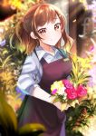 1girl absurdres apron black_apron blush bouquet brown_hair day earrings florist flower gradient_hair highres holding holding_bouquet jewelry medium_hair mole mole_under_eye multicolored_hair original red_earrings shirt smile solo standing stud_earrings white_shirt witchdalisweet