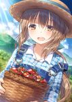1girl bangs basket blush brown_eyes brown_hair craytm day dutch_angle hat highres long_hair looking_at_viewer open_mouth original outdoors overalls ponytail solo strap_slip tomato