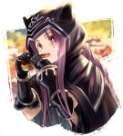 +_+ 1girl black_coat black_gloves blurry blurry_background braid braided_ponytail cropped_torso eating fate/grand_order fate_(series) food gloves highres holding holding_food hood hood_up hooded_coat long_hair medusa_(lancer)_(fate) purple_hair sidelocks simple_background single_braid solo upper_body very_long_hair violet_eyes white_background yatsuka_(846)